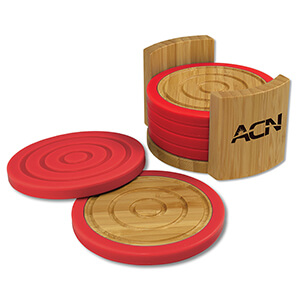 Item: MI6089 - Bamboo Silicone Coaster Set